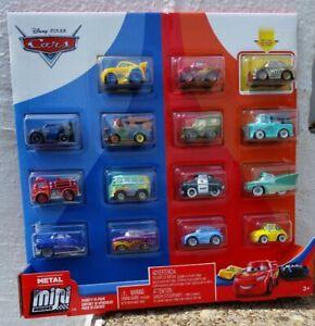 Disney Pixars Cars 3 Mini Racers Metallic McQueen Golden Chick Hicks Red 15 Pack