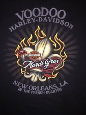 Harley Davidson Men's New Orleans Green Ghost Voodoo Mardi Gras Shirt Top Logo L