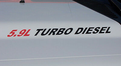 Hood vinyl sticker decals Ram 2500 3500 Decal 5.9L Turbo diesel pair