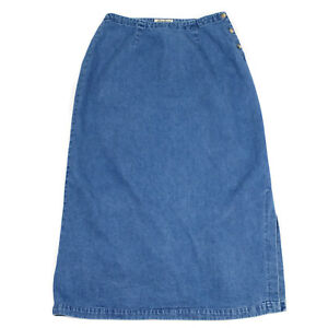 Eddie-Bauer-Denim-Jeans-Skirt-Size-12-Long-Maxi-Modest-Blue-Button-Side-Slit