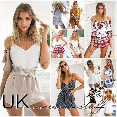 UK Womens Summer Crop Top Mini Playsuit Ladies Jumpsuit Beach Dress Size 6 - 14