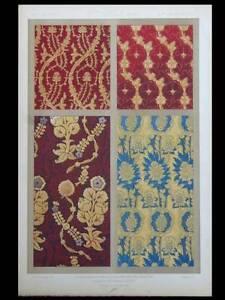 Tissus Feuilles Lobees 15e Lithographie 1877 Dupont-auberville, Ornement Tissus PosséDer Des Saveurs Chinoises
