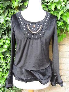 New-Sensations-Ladies-Black-Velvet-feel-Top-With-Gem-Detail-Size-L-XL