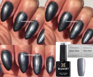 BLUESKY-GEL-POLISH-ASPHALT-STEEL-GREY-A22-NAIL-LED-UV-SOAK-OFF-ANY-2-FILE-WIPES