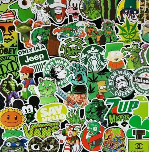 Green Stickers Theme Weed 420 Pop Skate PC Skate Luggage Laptop Decal Party Gift