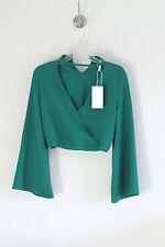 New Zara Green Belled Sleeve Choker Top Blouse Size S