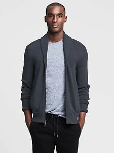 Banana Republic Gray Shawl Collar Men Sz S Zip Up Cardigan Sweater