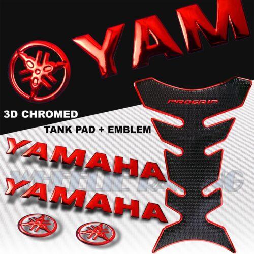 "CHROME RED PRO GRIP FUEL TANK PAD+6/""3D YAMAHA LOGO+LETTER FAIRING EMBLEM STICKER"