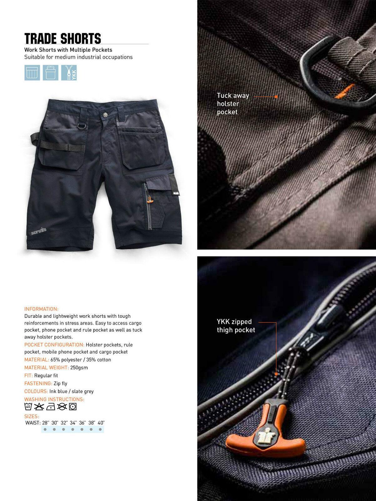 Scruffs Trade Lavoro Pantaloncini Pantaloncini Pantaloncini Confezione doppia blu più Tasche Cargo combattimento resistente ec5b47