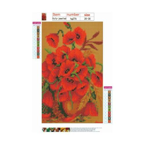 Beautiful Red Flower DIY 5D Full Drill Diamond Painting Embroidery Cross Stitch