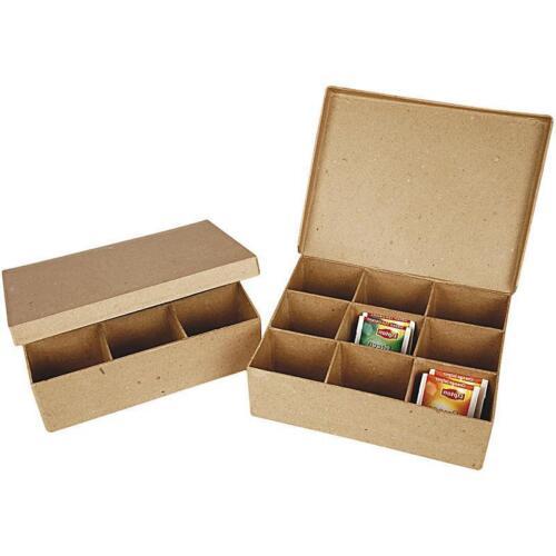Tea Bag 9 Compartment Box Shaped Craft Storage Brown Paper Mache Create Decorate