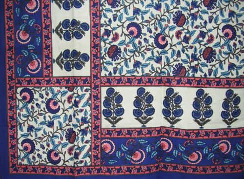 """Floral Print Tapestry Cotton Bedspread 104/"""" x 88/"""" Full Blue"""