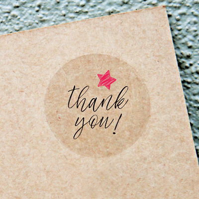 White Envelope Seals Round 25//38//63mm Wedding Favor labels THANK YOU STICKERS