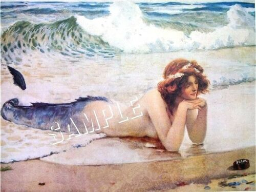 VINTAGE MERMAID OCEAN BEACH FAIRY FANTASY *CANVAS* ART