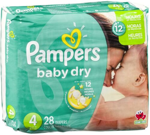 Size 4 28 ea Pack of 5 Pampers Baby Dry Diapers