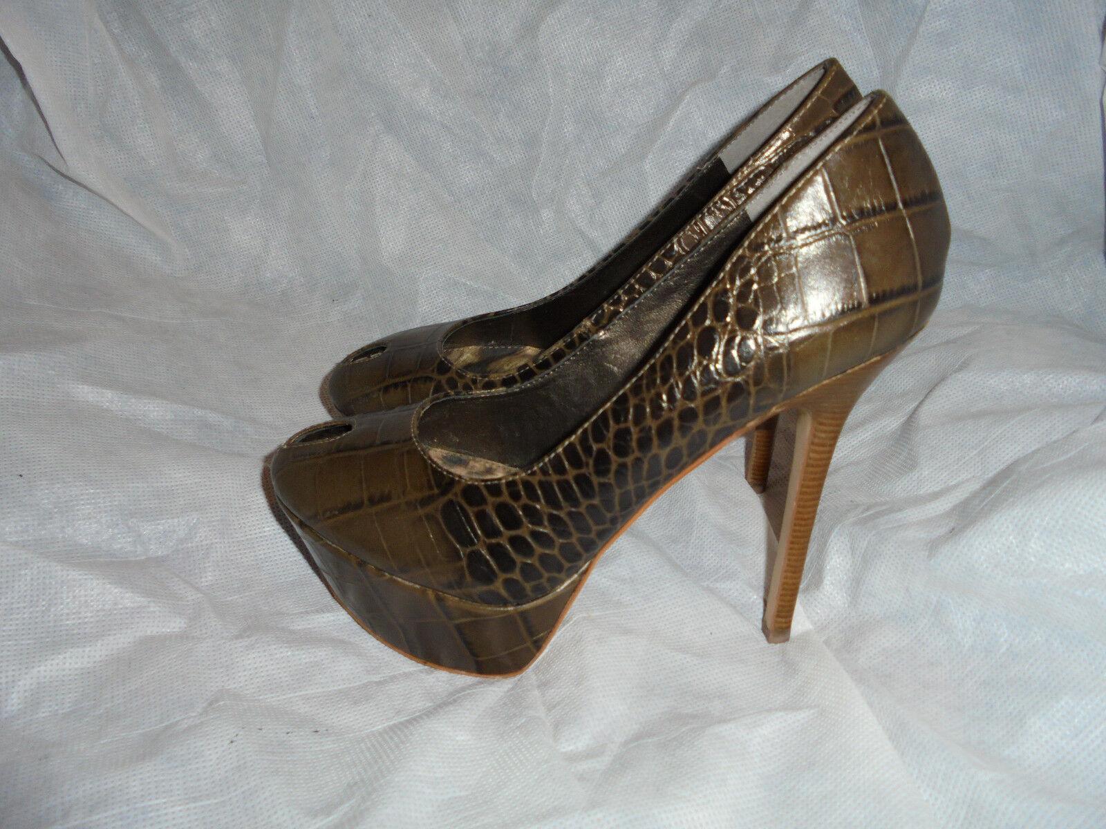Sam elderman Femme Marron Croc Cuir Slip On Chaussures à Talon Taille uk 3 eu 36 US 6 m