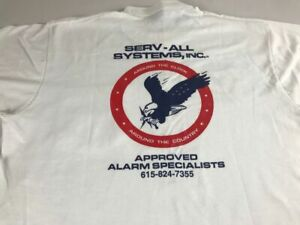 Serv-All Security Alarm Systems T-Shirt VTG Adult SZ M/L Front Pocket USA Made