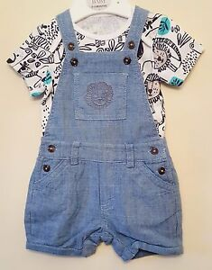 """BABY BOYS """"EX M&S"""" 2 PIECE SHORT SLEEVE BODYSUIT AND DUNGAREE SET - OUTFIT SET"""