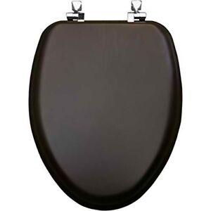 Mayfair19601CP 888 Natural Reflects Veneer ToiletSeat Chrome Hinge,Elong,Walnut