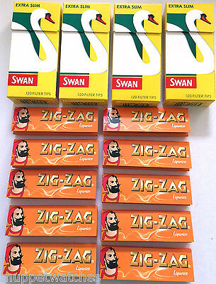 4 x SWAN EXTRA SLIM Tips (480) & 10 Booklets of ZIG ZAG LIQUORICE PAPERS (500)