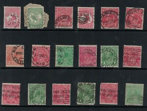 Postmarks-CANCELS-kangaroo-kgv-stamps-1-2d-1d-1-1-2d-2d-mix-lot-x-18