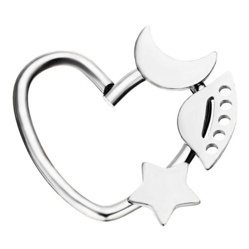 Mode Herz Stern Mond Ring Piercing Band Hoop Ohrring Helix Knorpel Tragus Daith