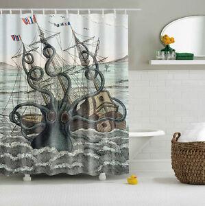 Image Is Loading Colored Octopus Kraken Attack Galleon Carrack Custom Shower