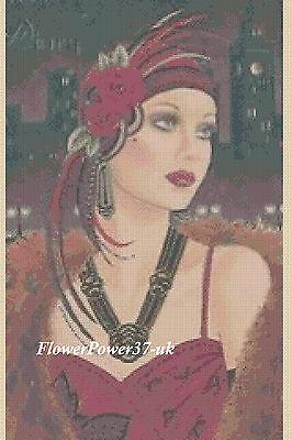 FREE UK P/&P Cross stitch chart  Art Deco Lady AD222  FlowerPower37-UK