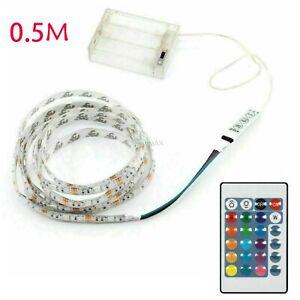 0-5m-Batterie-Betrieben-5050RGB-LED-Stripe-Mehrfarbige-Licht-Band-Wasserdicht-DE