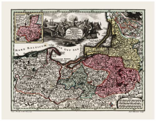 Old Vintage Map of Prussia Poland Germany Baltic States Seutter 1744