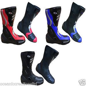 Motorcycle-Black-Blue-Red-Leather-Waterproof-Motorbike-Winter-Race-Boots-7-14