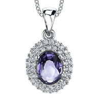 Sterling Silver Cubic Zirconia Oval Tanzanite Pendant Necklace With Chain