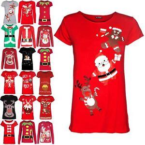 Kids-Girls-Christmas-Reindeer-Gingerbread-Santa-Print-Cap-Sleeve-Xmas-TShirt-Top