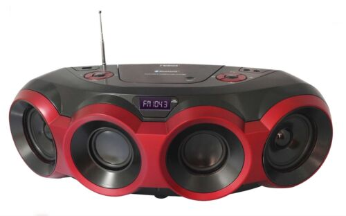 PORTABLE MP3 DISC CD PLAYER BOOMBOX BLUETOOTH AM//FM RADIO USB AUX IN SUBWOOFER