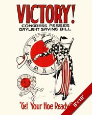 DAYLIGHT SAVINGS TIME FARMER PROPAGANDA POSTER PAINTING REAL CANVAS ART PRINT