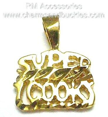 2359 14KT GOLD EP SUPER COOK WORD PENDANT CHARM