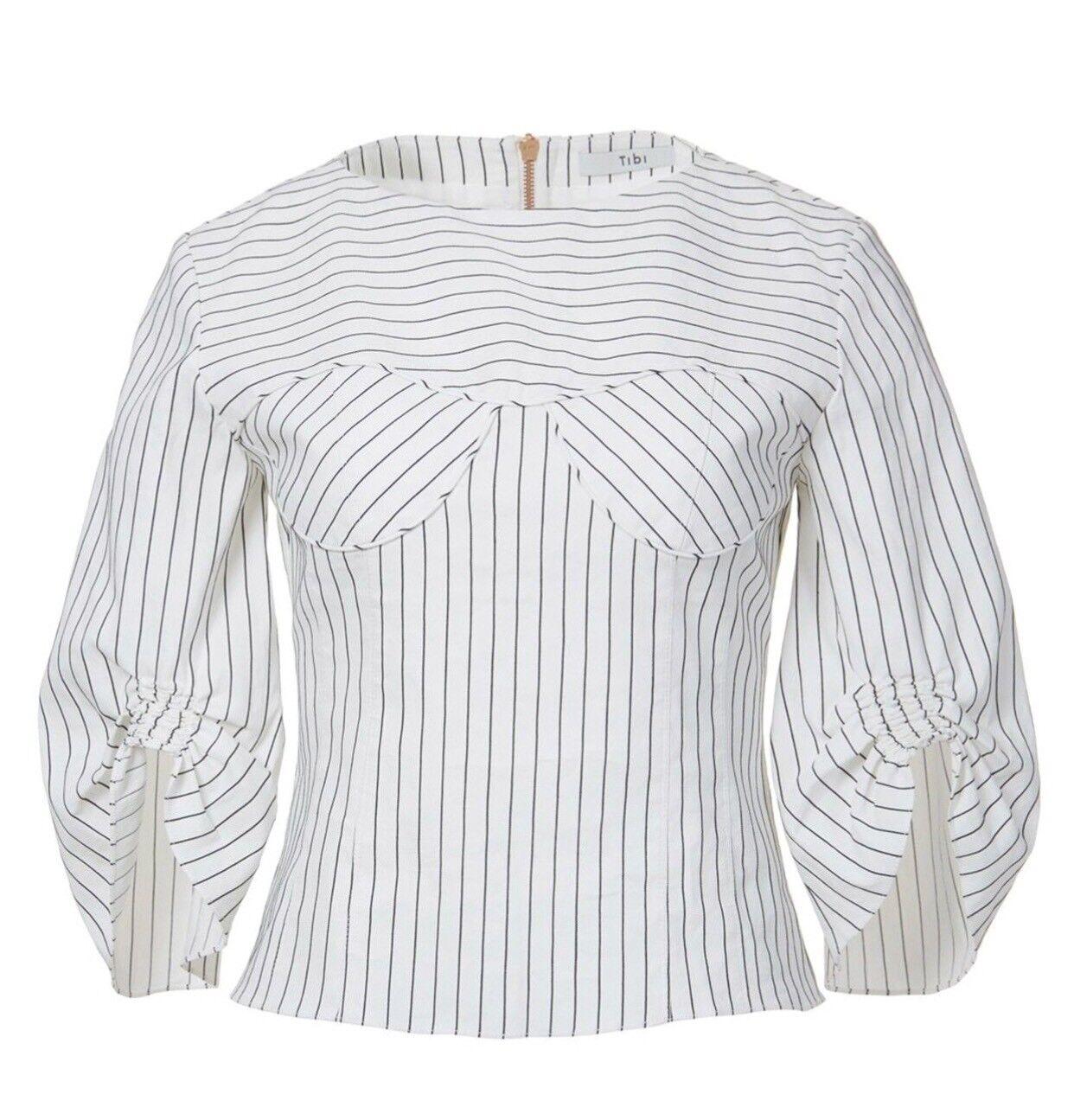 TIBI CECIL STRIPE PEPLUM CORSET TOP Blouse Linen Cotton Größe 2 New With Tag 425