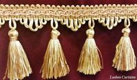 Gold & Copper Tone 3 Tassel Trim Fringe By The Yard Curtain/craft/upholstery