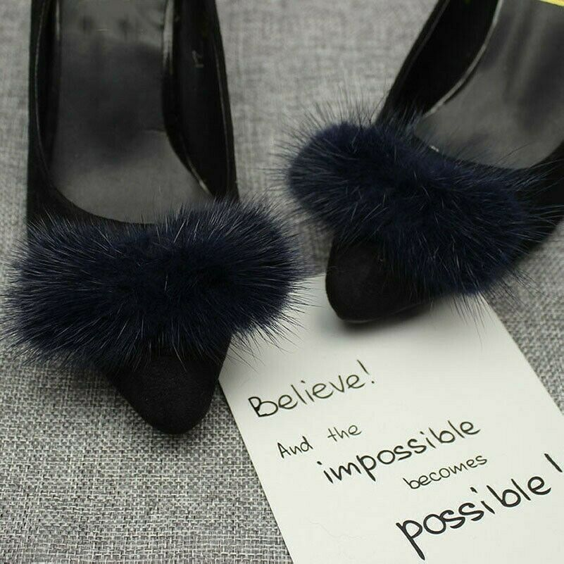 1 Pair Mink Fur Pom Pom Shoe Clips Fluffy Ornament Heels Boots Charm Decor DIY