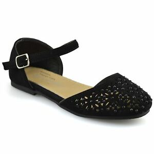 Girls Kids New Flat Heel Ankle Strap