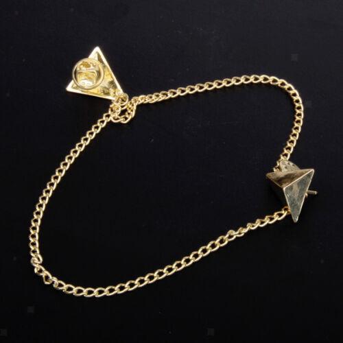 2pcs Punk Golden Tone Decor Chain Collar Clip Brooch Pin Pendant Necklace Gift