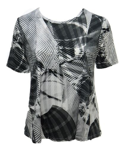 UK Size 16-24 Abstract White Black Print Stretch Top New With Tags Casual Ladies