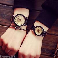 Lovers Watches Men Women Leather Strap Stainless Steel Quartz Analog Wrist Watch