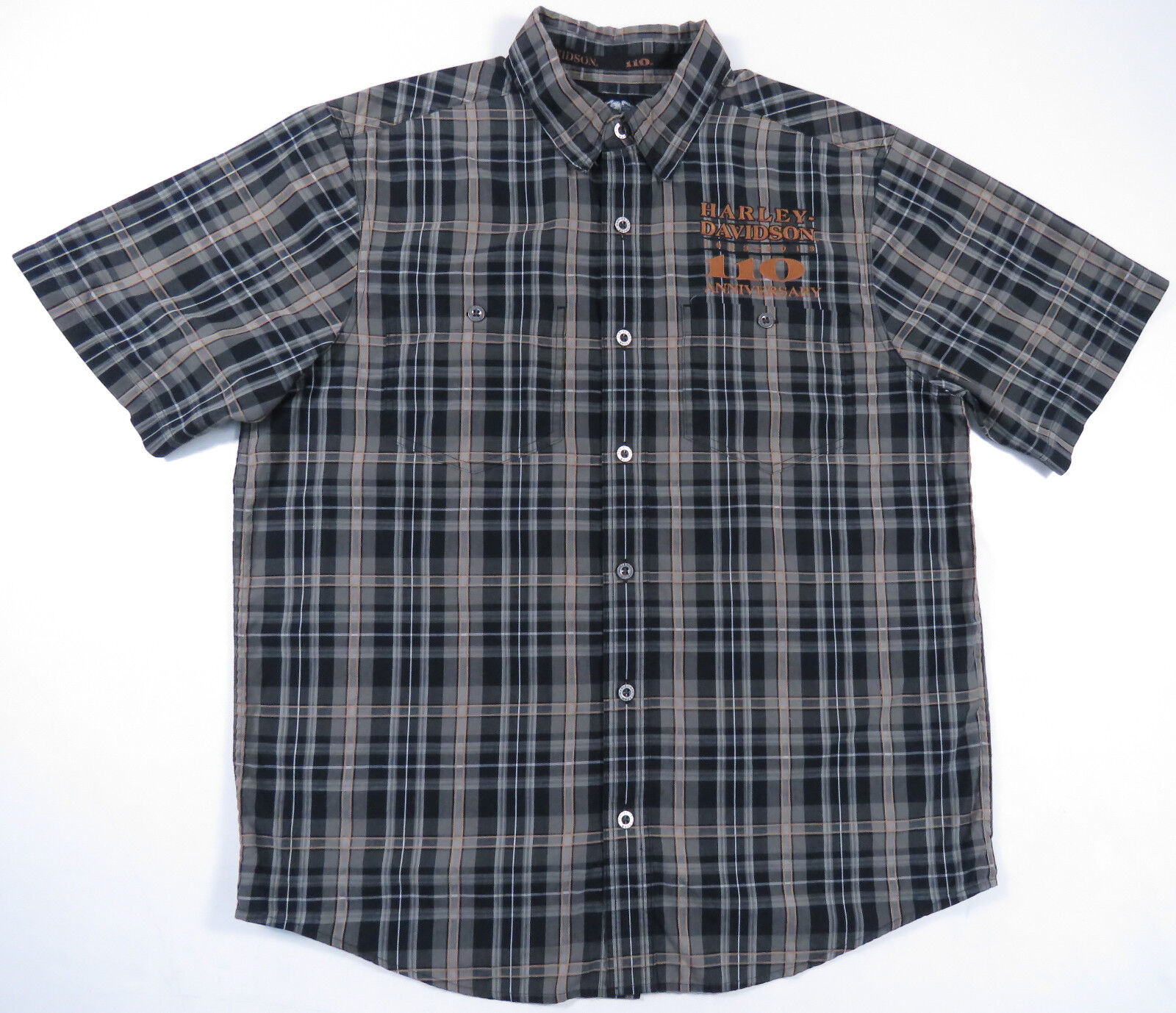 HARLEY DAVDISON 110TH ANNIVERSARY PLAID METAL BUTTON UP EMBROIDERED SHIRT MENS L