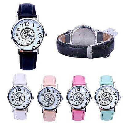 Womens Swirl Pattern Leather Strap Sports Analog Quartz Casual Wrist Watch