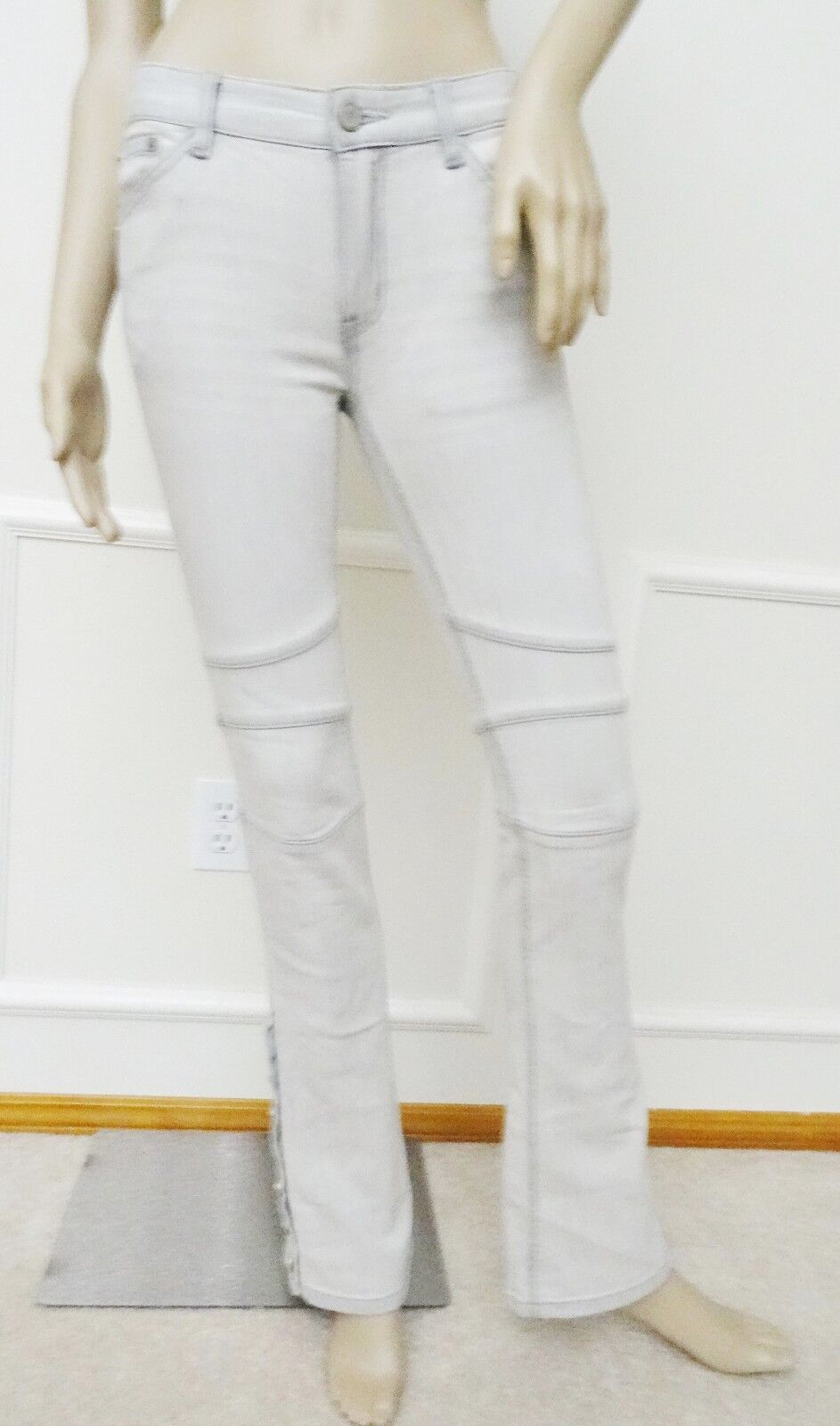 Nwt Free People Flare Low Rise Stretch Knee Seams Denim Jeans Sz 24 00 Khaki