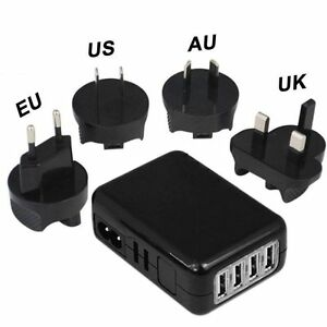 4Port USB Mobile Phone Charger Smart Phone Wall Charger With UK EU US AU Plug UK