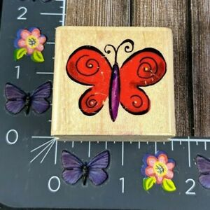 Stampabilities Cutesy Butterfly Rubber Stamp 2007 C1084 Wood Mount #C4
