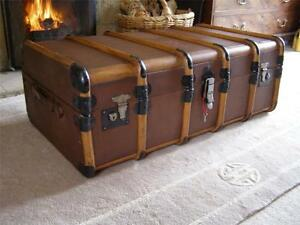Superieur Image Is Loading ANTIQUE VINTAGE BOUND STEAMER TRUNK SUITCASE COFFEE TABLE