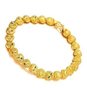 24k-Yellow-Gold-Elegant-7-1-2-034-Linked-Hearts-Chain-Womens-Bracelet-w-GiftPk-D149